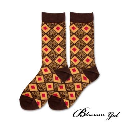 Blossom Gal 菱格撞圖騰配色造型短襪(咖)
