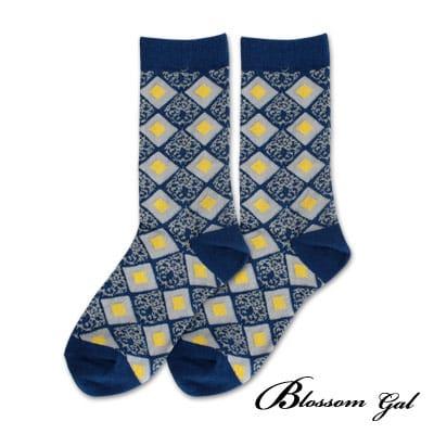 Blossom Gal 菱格撞圖騰配色造型短襪(藍)