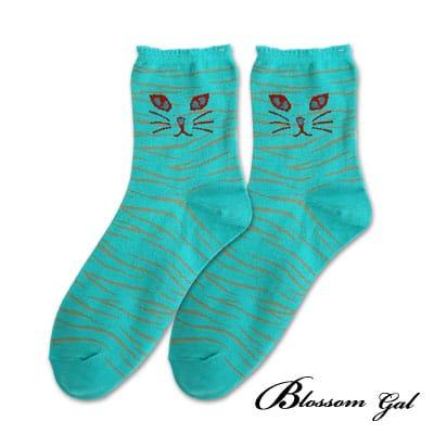 Blossom Gal虎斑貓偷偷窺視造型短襪(綠)