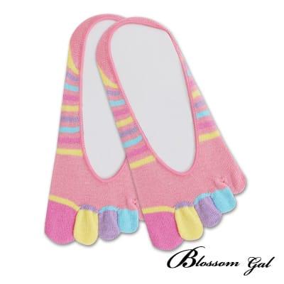 Blossom Gal 腳後跟矽膠止滑隱形五指襪-繽紛細紋(粉)