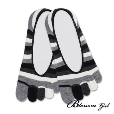 Blossom Gal 腳後跟矽膠止滑隱形五指襪-亮眼彩虹(黑)