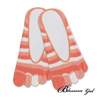 Blossom Gal 腳後跟矽膠止滑隱形五指襪-亮眼彩虹(橘)