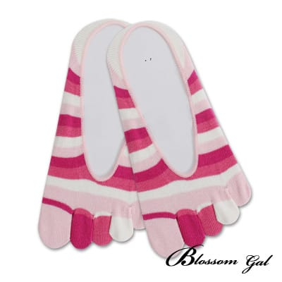 Blossom Gal 腳後跟矽膠止滑隱形五指襪-亮眼彩虹(粉)