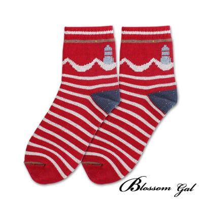 Blossom Gal 美式休閒厚實感針織短襪(燈塔紅)