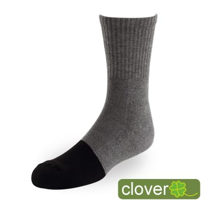 Clover甲殼素&冰涼紗抑菌吸排健康3/4運動襪(淺灰)