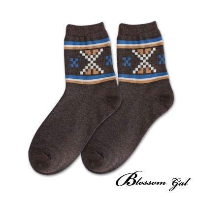 Blossom Gal摩斯方塊雙橫紋造型短襪(咖)