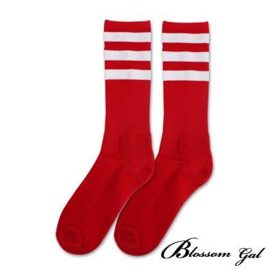 Blossom Gal 繽紛亮彩條紋運動風足球長筒襪(紅白)