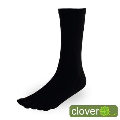 Clover甲殼素&冰涼紗抑菌吸排健康五指襪(3/4襪-黑)