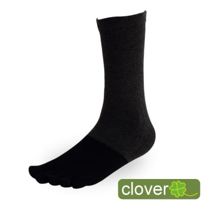 Clover甲殼素&冰涼紗抑菌吸排健康五指襪(3/4襪-灰)