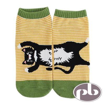 貝柔 貓咪跳躍橫條船型襪3入