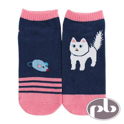 貝柔 貓咪抓老鼠船型襪3入