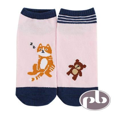 貝柔 貓咪打瞌睡船型襪3入