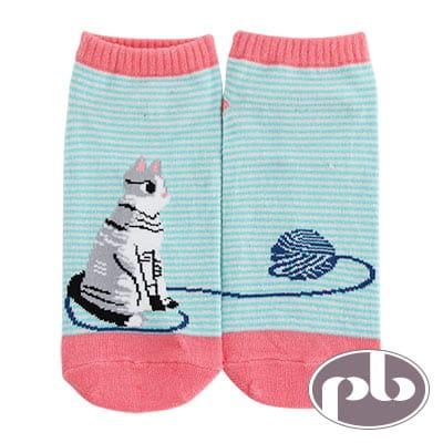 貝柔 貓咪毛線橫條船型襪3入