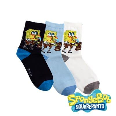 Spongebob海綿寶寶-海綿寶寶喝飲料棉質童襪3入(21-24cm)