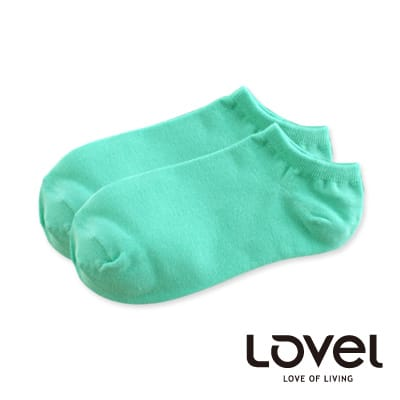 LOVEL糖果純色萊卡船型襪(藍綠)