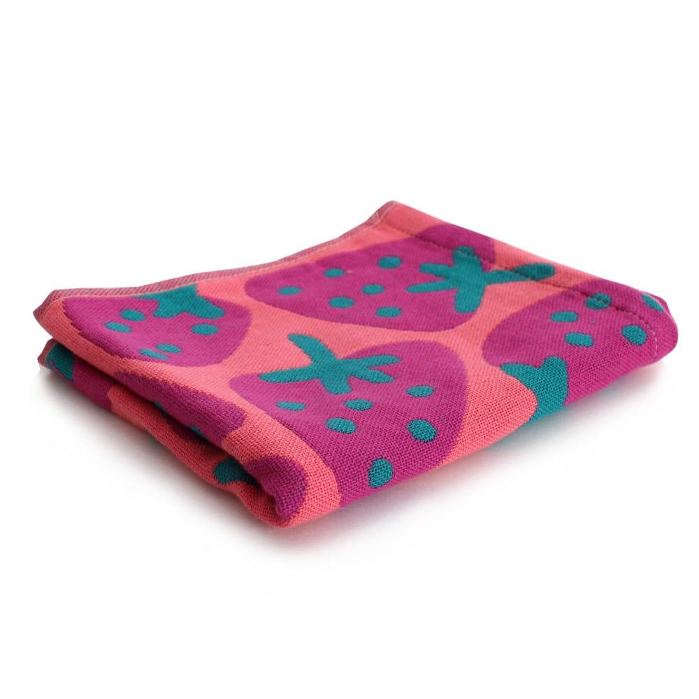 Lovel日雜塗鴉可愛草莓紗布童巾(粉色)