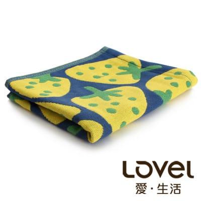 Lovel日雜塗鴉可愛草莓紗布童巾(藍色)
