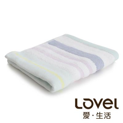 Lovel 日系簡約配色條紋雙面棉紗童巾(紫)