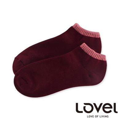 LOVEL雙色氣墊船型襪(酒紅)