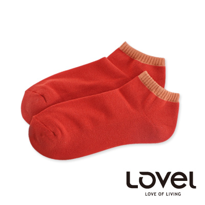 LOVEL雙色氣墊船型襪(深橘)