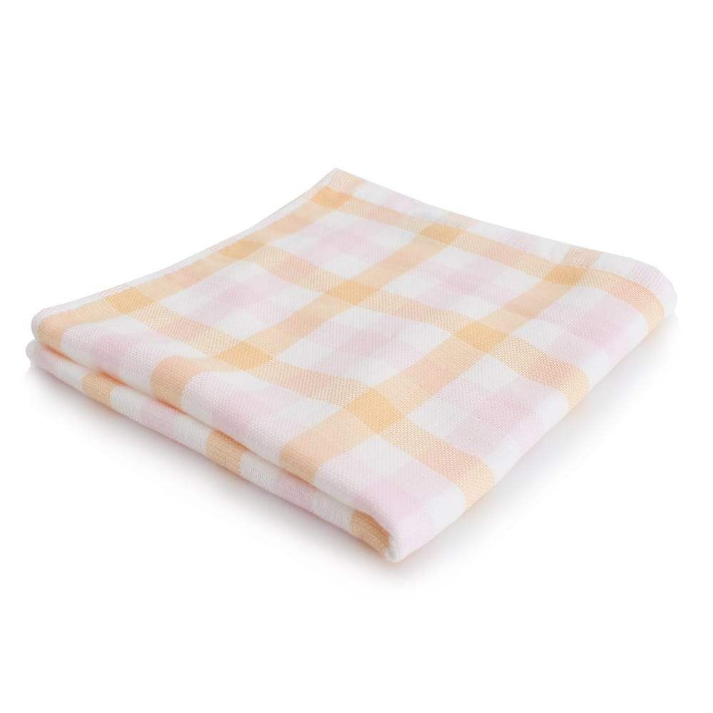 Lovel日系簡約雙色小格雙面棉紗童巾(橘色)