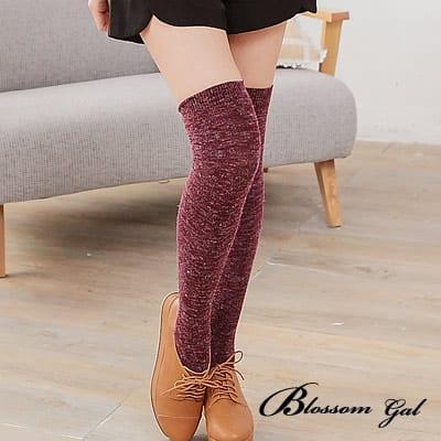Blossom Gal暖暖安格拉混毛料條紋膝上襪(共七色)