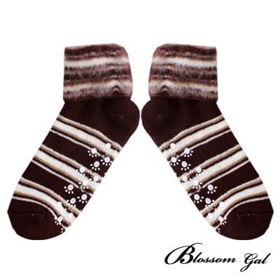 Blossom Gal厚實混紡毛條紋反摺短襪(咖啡)