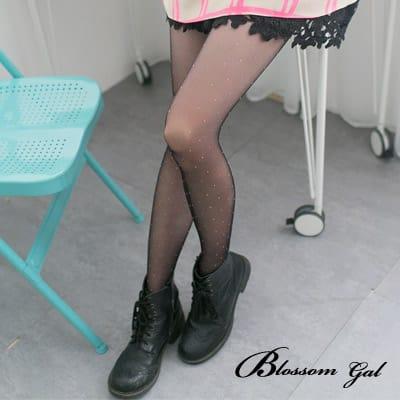 Blossom Gal 玩心大悅馬卡龍粉彩色點點透膚黑絲襪