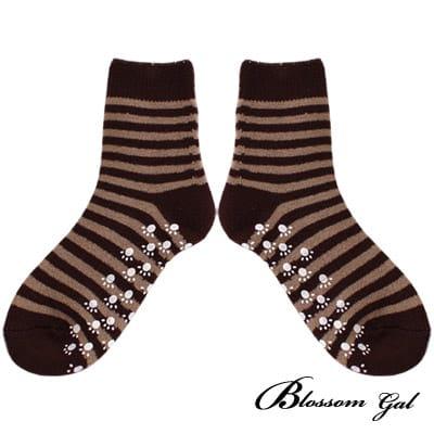 Blossom Gal厚實混紡毛條紋短襪(咖啡)