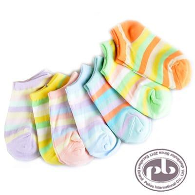 貝柔 馬卡龍棒棒糖萊卡彈性兒童船型襪6入(5~12歲)