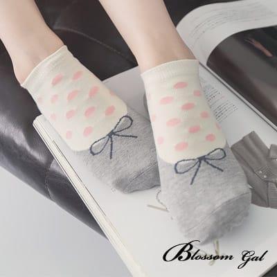 Blossom Gal 甜美娃娃假鞋圓點造型短襪(灰)