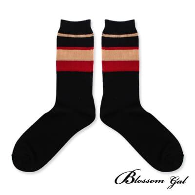 Blossom Gal復古雙色條紋中統短襪(共兩色)
