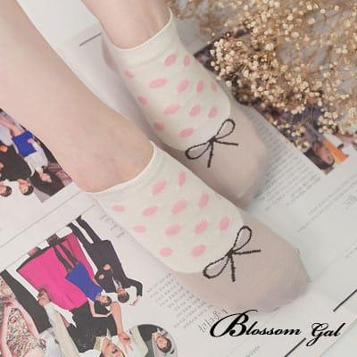 Blossom Gal 甜美娃娃假鞋圓點造型短襪(咖)