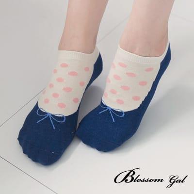 Blossom Gal 甜美娃娃假鞋圓點造型短襪(藍)