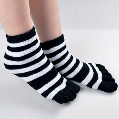 貝柔 【6雙】舒服棉五指襪-條紋短襪