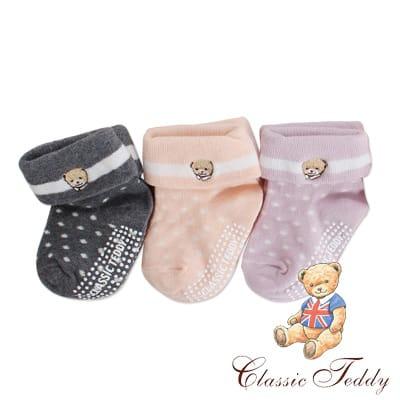 精典泰迪-反摺圓點高質感兒童襪/棉襪/短襪/止滑寶寶襪3入(9-12CM)