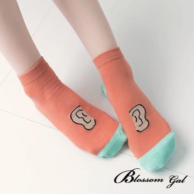 Blossom Gal 趣味俏皮眼耳造型短襪(耳朵橘)