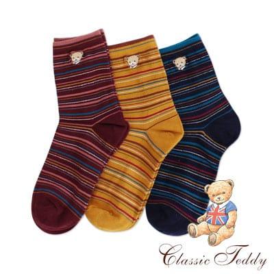 精典泰迪-細線橫紋高質感1/2短襪/少女襪/棉襪3入(22-24CM)