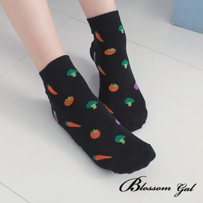 Blossom Gal 動物開心農場造型短襪(黑)