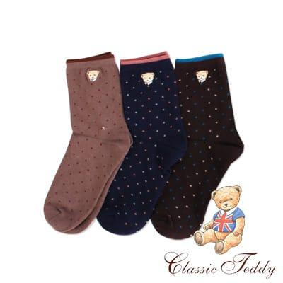 精典泰迪-小星星高質感1/2短襪/少女襪/棉襪3入(22-24CM)