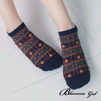 Blossom Gal 太陽圖騰滿版造型短襪(藍)
