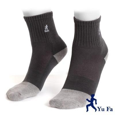 【YuFa】三合一強效銀纖維除臭健康運動襪(灰)