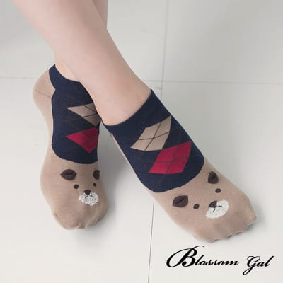 Blossom Gal 熊熊麻吉濃眉菱格造型短襪(藍)