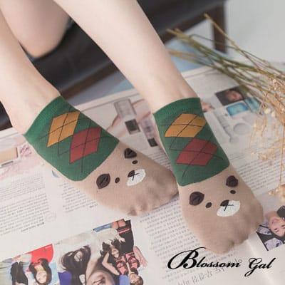 Blossom Gal 熊熊麻吉濃眉菱格造型短襪(綠)
